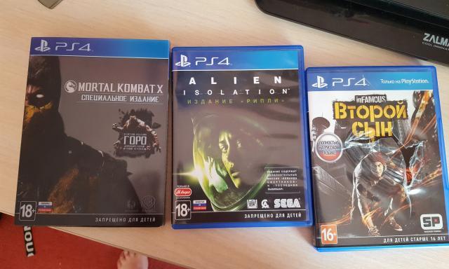 Продам Игры на PS4 (MKX,  Infamous,  Alien)