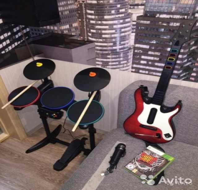Продам Guitar Hero (барабаны + гитара + диск)
