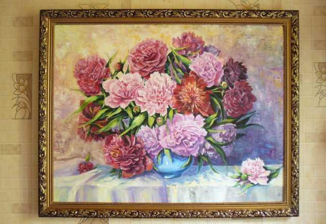 Продам Картина с цветами букет розово-красных п