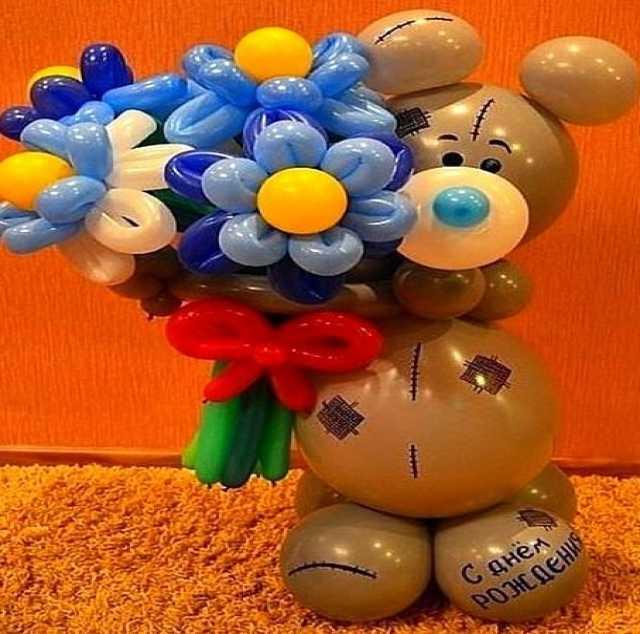 Продам Плюшевый мишка с цветами из шаров