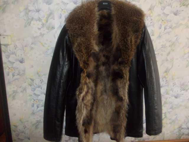 Продам Куртка кожаная Италия Новая мех волка