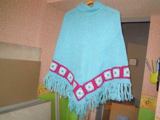 Продам красивое вязаное пончо