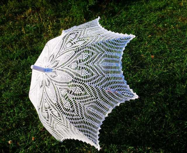 Продам Белый вязаный ажурный зонт- трость