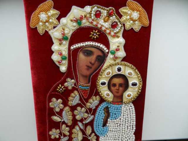 Продам Икона Богородица 19-20в вышитая риза
