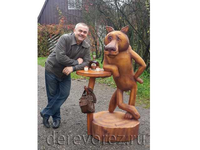 Предложение: Деревянная скульптура Волк Жил был Пёс