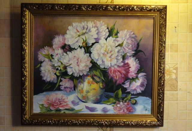 Продам продам картину пионы в китайской вазе