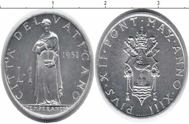 Продам: Монета Ватикана 1 лира 1951г
