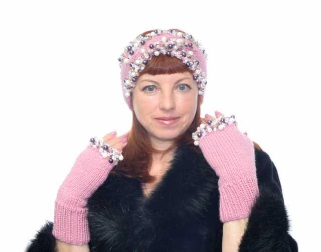 Продам вязаную шапку повязку митенки с вышивкой