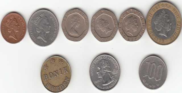 Продам Фунты UK, Цент США, йена, Шведский боник