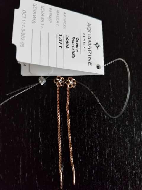 Продам Новые золотые серьги-протяжки