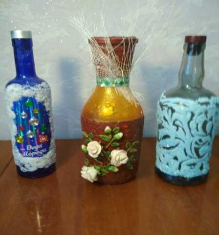 Продам: декорированные вазы и бутылки