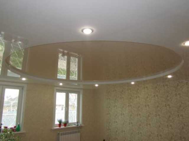 Натяжные потолки трехуровневые круг фото