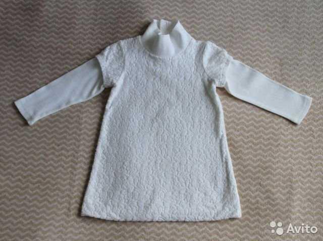Продам Белое платье с мягким гипюром на 2-3 г