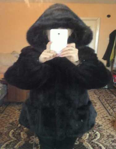 Продам Шуба норковая с капюшоном черная с поясо