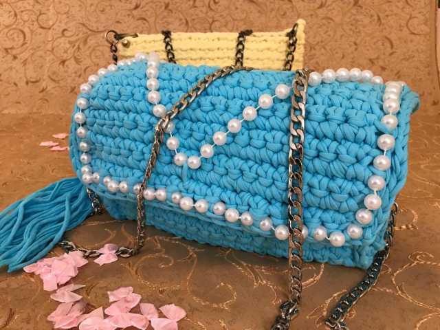 Продам: Вязаная сумка Голубой Батончик