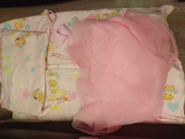 Продам Бортики и балдахин на кроватку для девоч