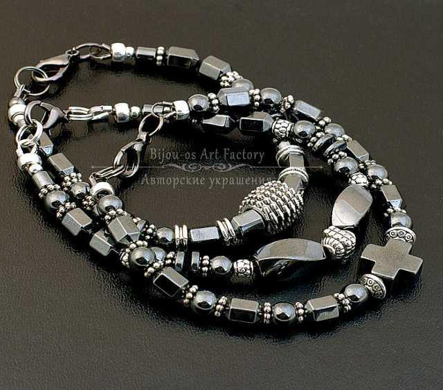 Продам Комплект мужских браслетов из гематита