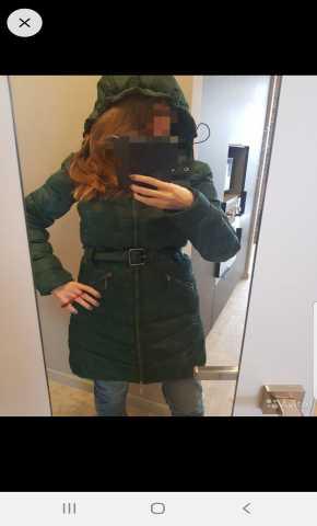 Продам: Пуховик зеленый s с капюшоном