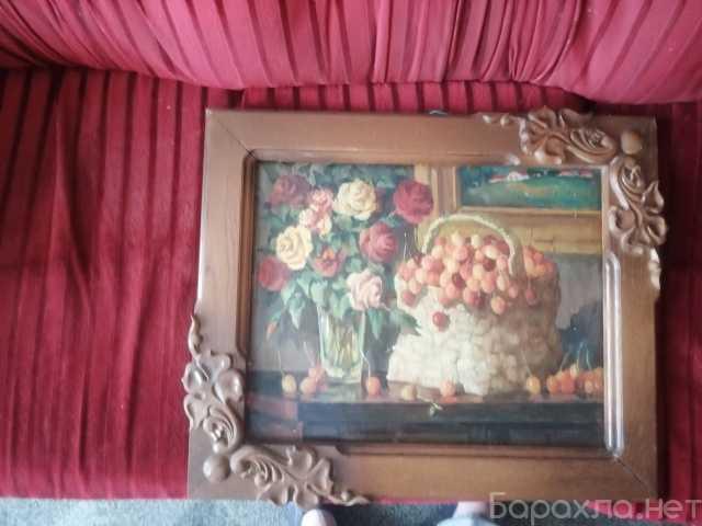 """Продам: Картина маслом """"черешня и розы"""""""