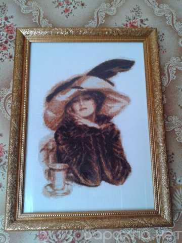 """Продам: Вышита крестом картина """"За чашкой чая"""""""